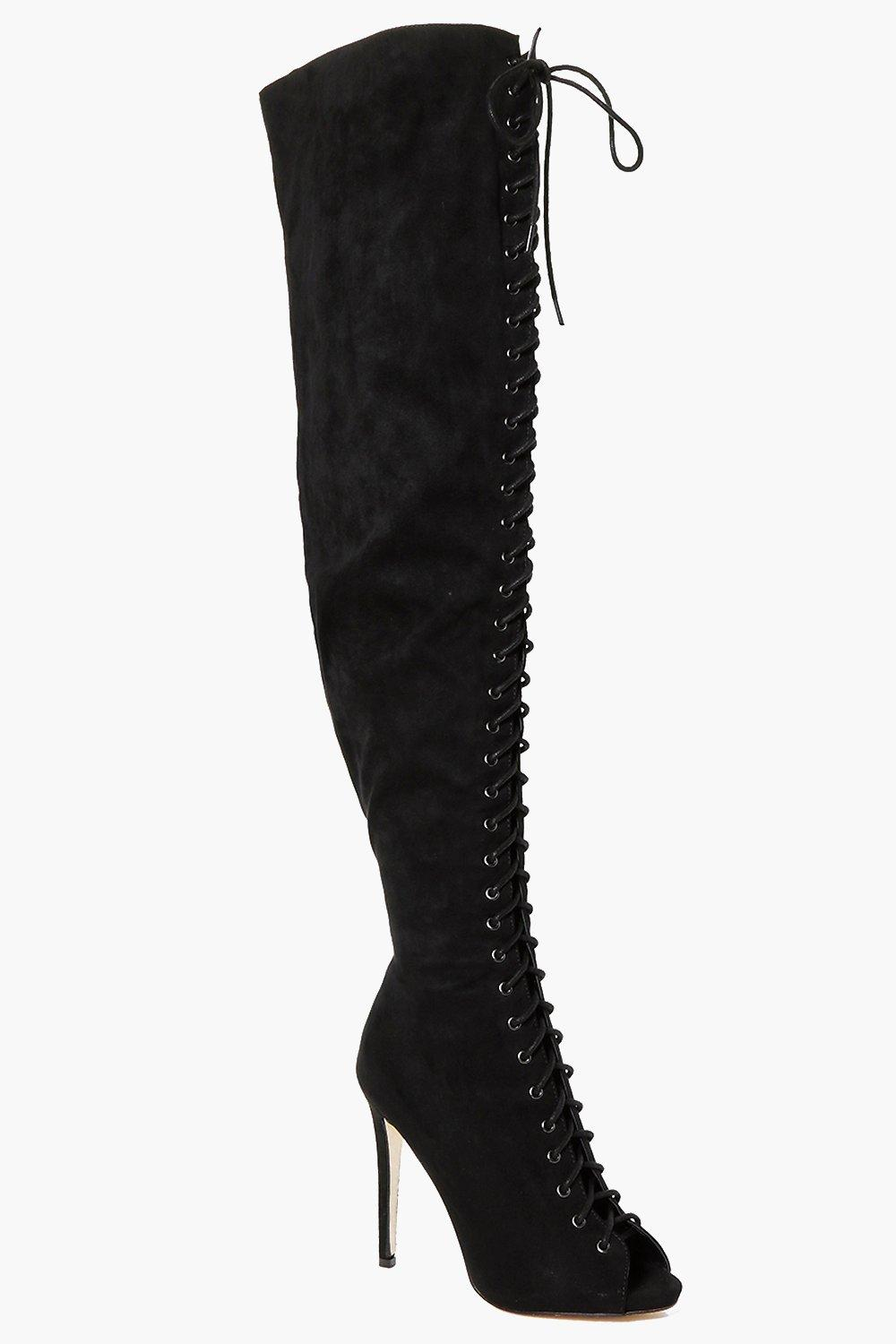 4e524178b3b Lace Up Peeptoe Thigh High Boots. Hover to zoom