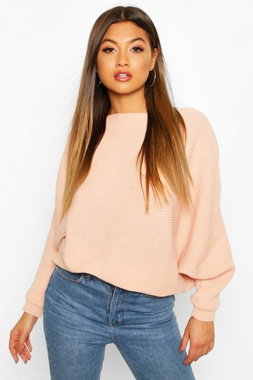 Womens Blush Oversized Rib Knit Batwing Jumper