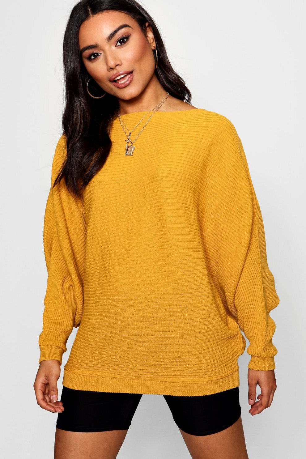 8b25c04b8268 Womens Mustard Oversized Rib Knit Batwing Sweater