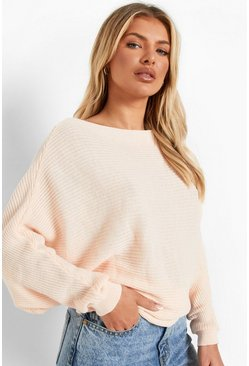 Womens Nude Oversized Rib Knit Batwing Sweater