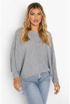 Silver Oversized Rib Knit Batwing Sweater