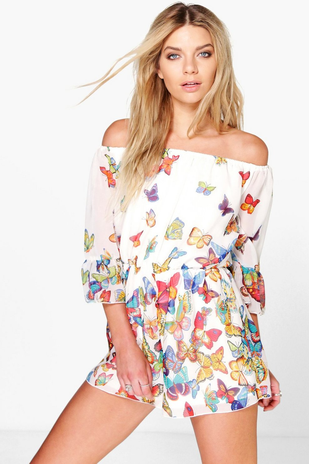 3620cf8a094fa Luna Off The Shoulder Butterfly Print Playsuit | Boohoo