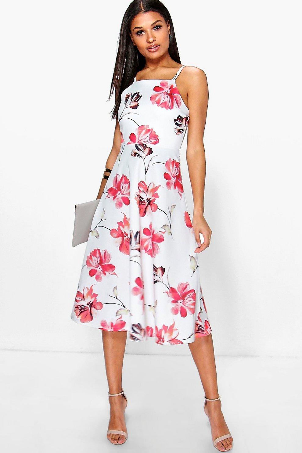 c9406af5b28c Floral Strappy Midi Skater Dress | Boohoo