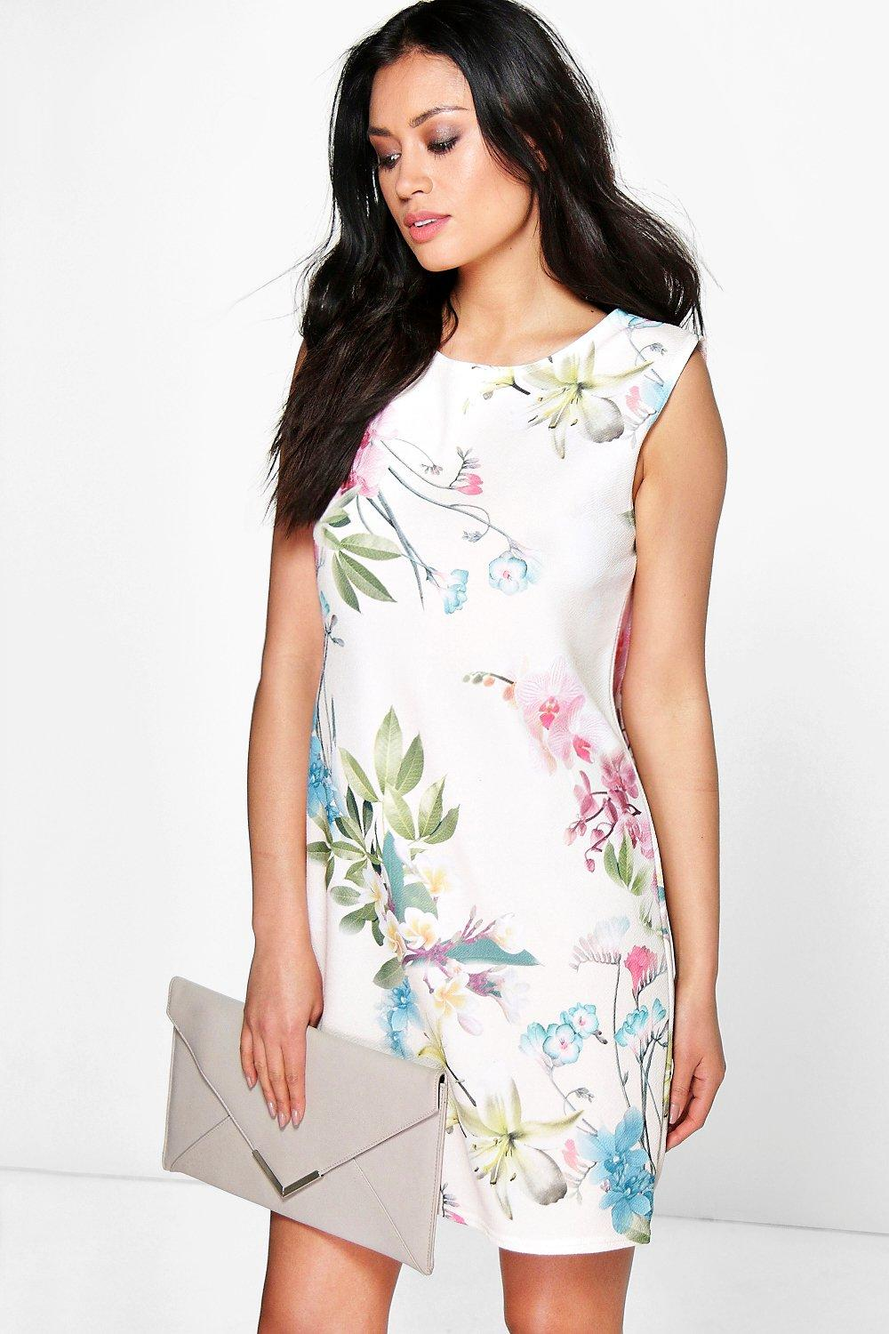 f11bd31dc613ce Ecaterina Floral Sleeveless Shift Dress. Hover to zoom