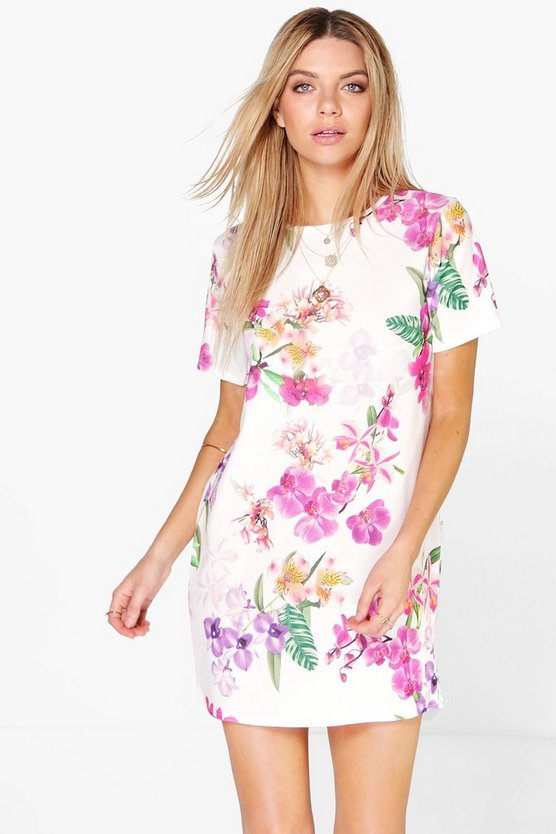 Womens Multi Caroline Floral Cap Sleeve Shift Dress