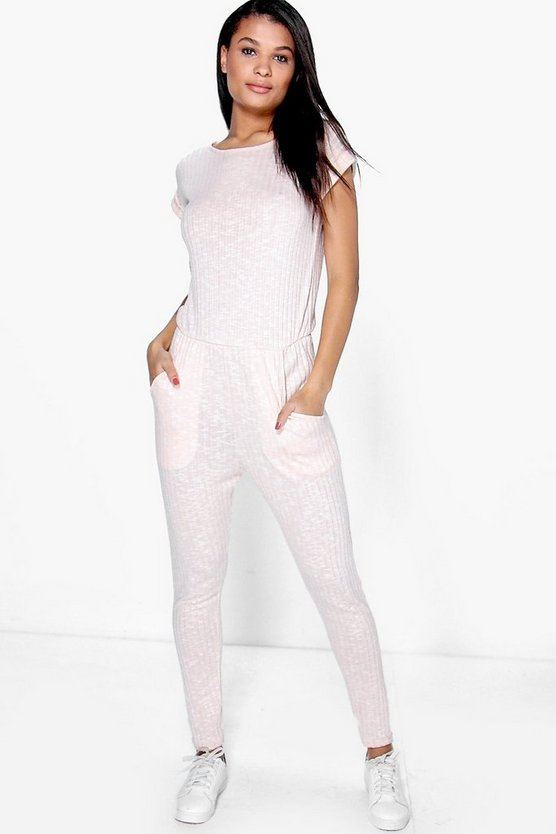 Womens Nude Ribbed Capped Sleeve Casual Jumpsuit