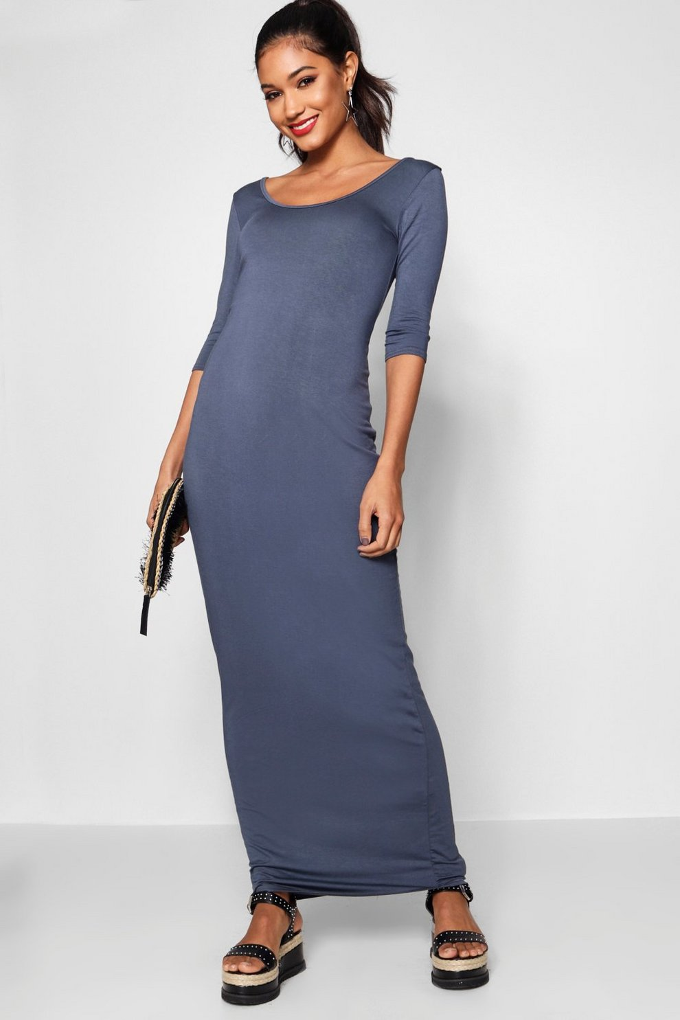 3 4 Sleeve Scoop Neck Maxi Dress Boohoo