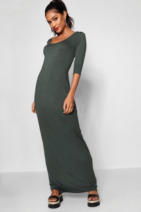 3/4 Sleeve Scoop Neck Maxi Dress