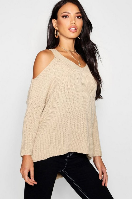 Womens Stone V Neck Cold Shoulder Jumper
