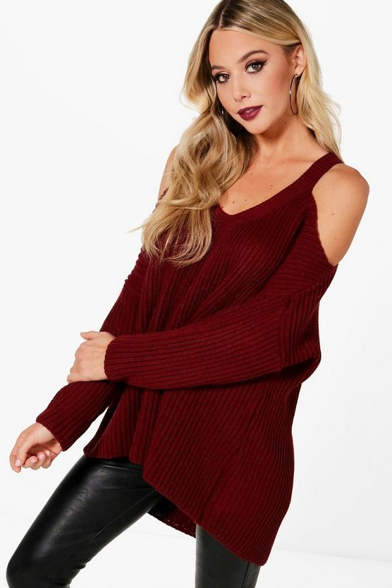 V Neck Cold Shoulder Jumper