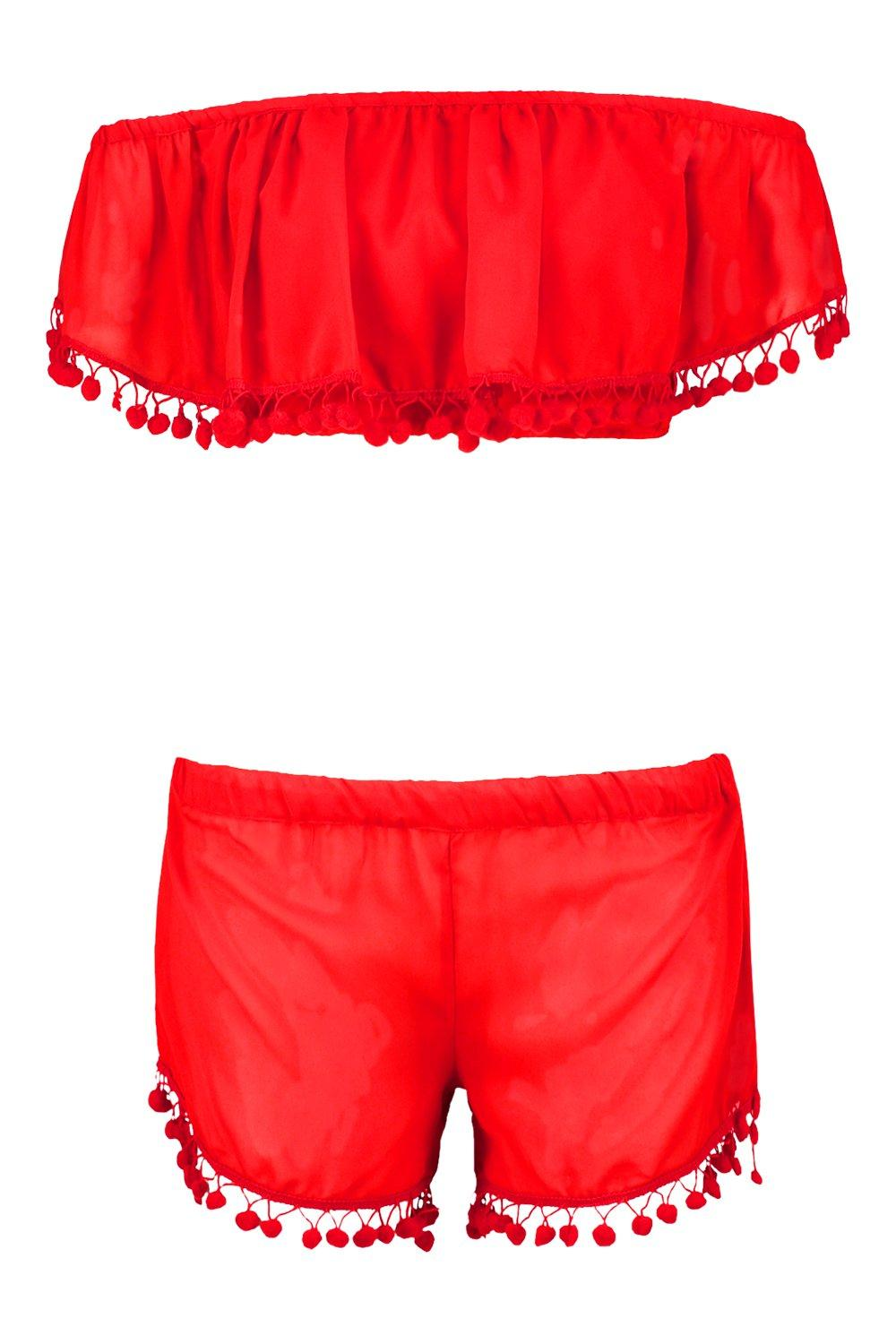 Trim Beach Off Co Ord Eva red Shoulder Pom Set 5IxwqgpT