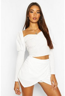 Womens Ivory Basic Solid Colour Skort