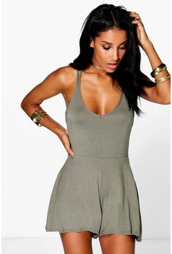 Womens Khaki Strappy Back Swing Playsuit