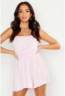 Womens Baby pink Basic Ruched Bandeau Playsuit