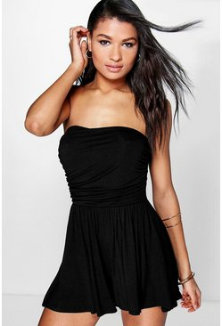 Black Basic Ruched Bandeau Playsuit