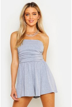 Grey marl Basic Ruched Bandeau Romper