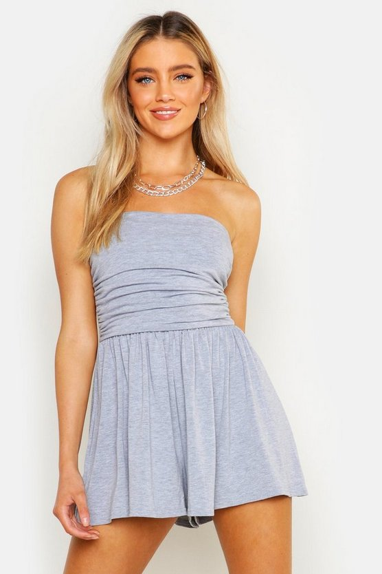 Basic Ruched Bandeau Playsuit