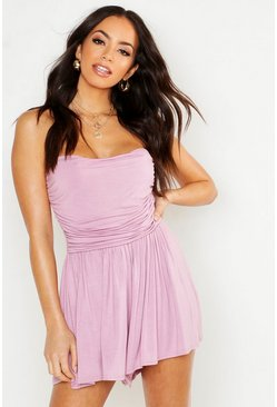 Womens Lilac Basic Ruched Bandeau Playsuit