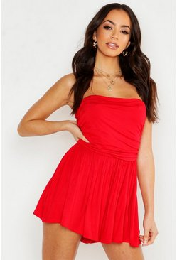Womens Red Basic Ruched Bandeau Romper