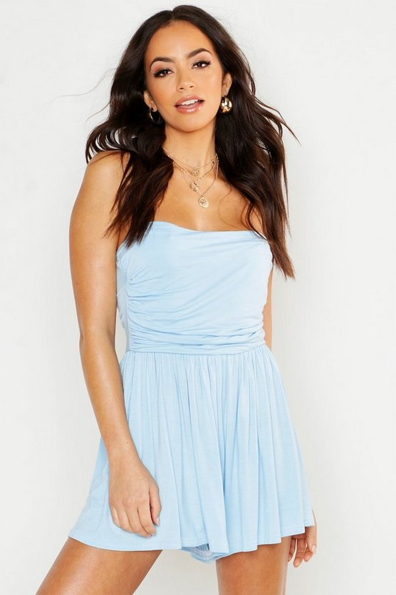 Womens Sky Basic Ruched Bandeau Playsuit