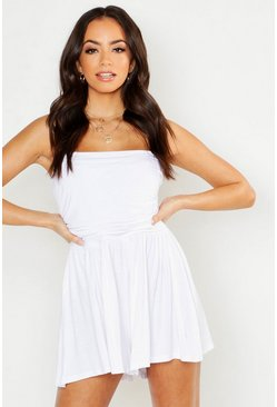 Womens White Basic Ruched Bandeau Playsuit