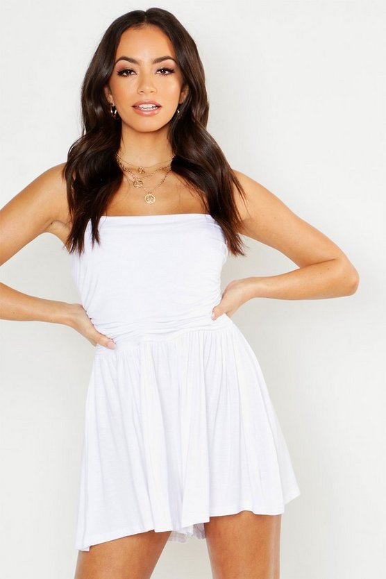 Womens White Basic Ruched Bandeau Romper