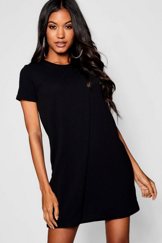 Cap Sleeve Wrap Over Shift Dress