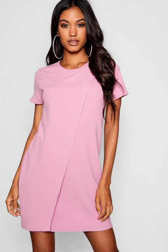 Womens Lilas Cap Sleeve Wrap Over Shift Dress