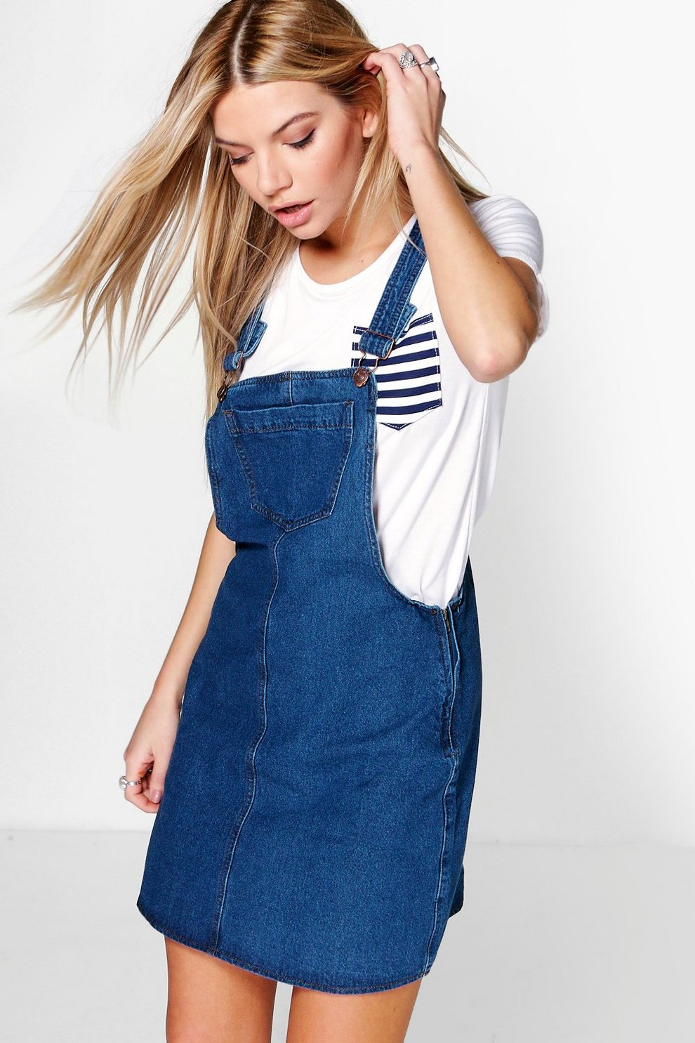 636733e5776 Laura Pinafore Skater Style Denim Dress