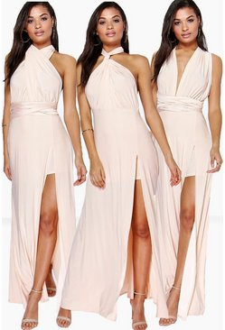 Multiway Split Leg Maxi Bridesmaid Dress, Пудровый