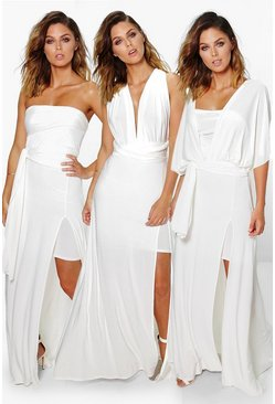 Womens Ivory Multiway Side Split Skirt Maxi Dress