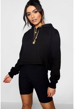 Womens Black Basic Cropped Overhead Hoody