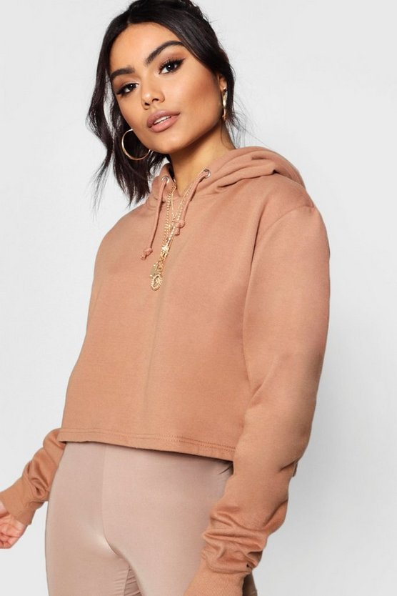 Womens Camel Basic Cropped Overhead Hoody