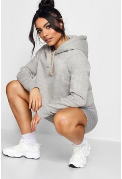 Womens Grey Basic Cropped Overhead Hoody