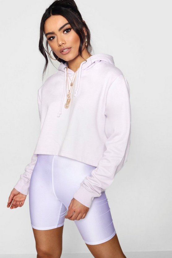 Lilac Basic Cropped Overhead Hoody