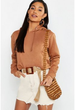 Womens Tan Basic Cropped Overhead Hoody