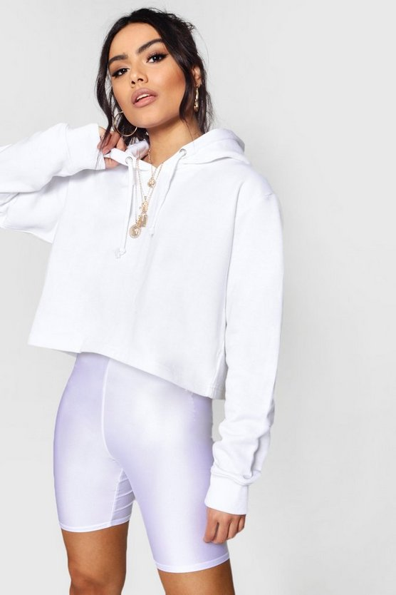 Womens White Basic Cropped Overhead Hoody