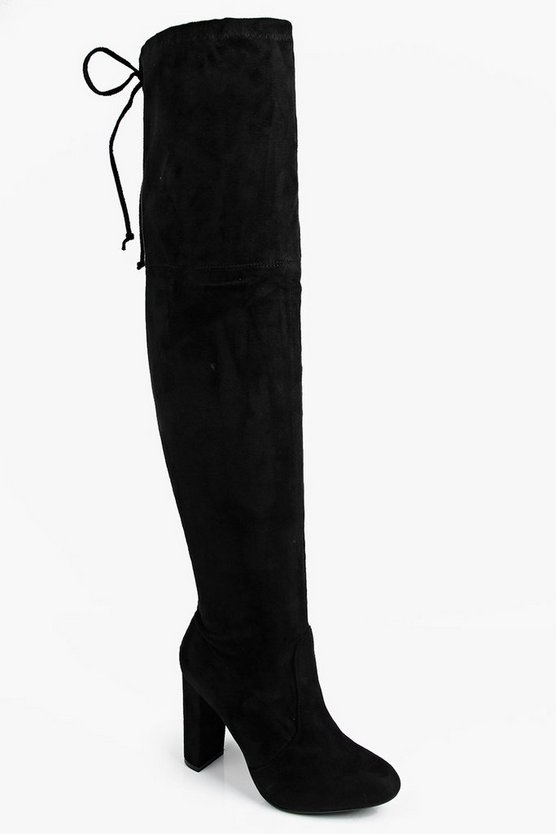 Womens Black Block Heel Lace Up Back Thigh High Boots