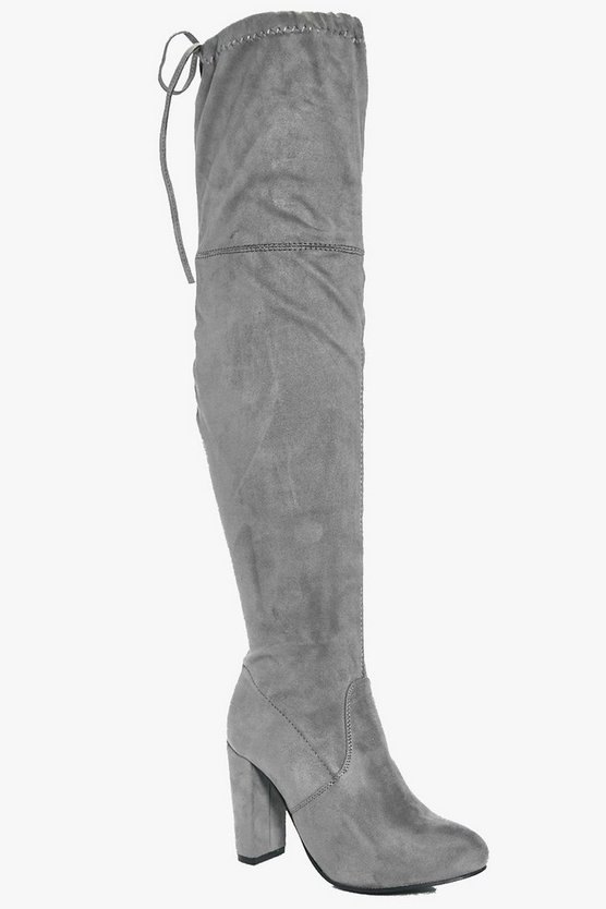 Womens Grey Block Heel Lace Up Back Thigh High Boots
