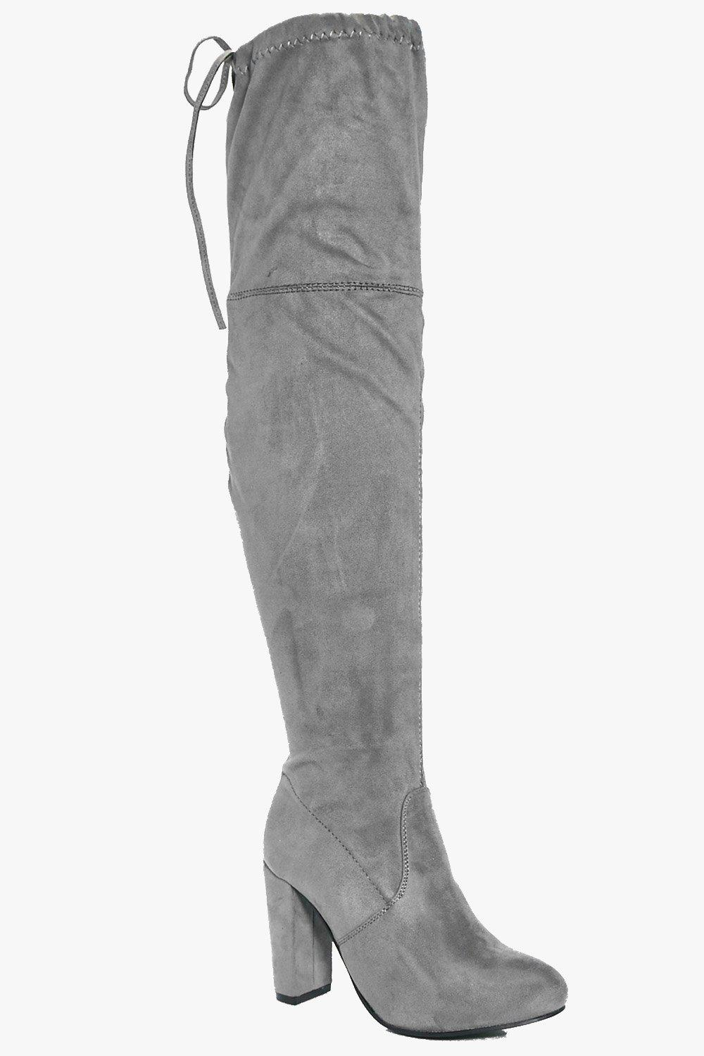 98decfd944e Block Heel Lace Up Back Thigh High Boots. Hover to zoom