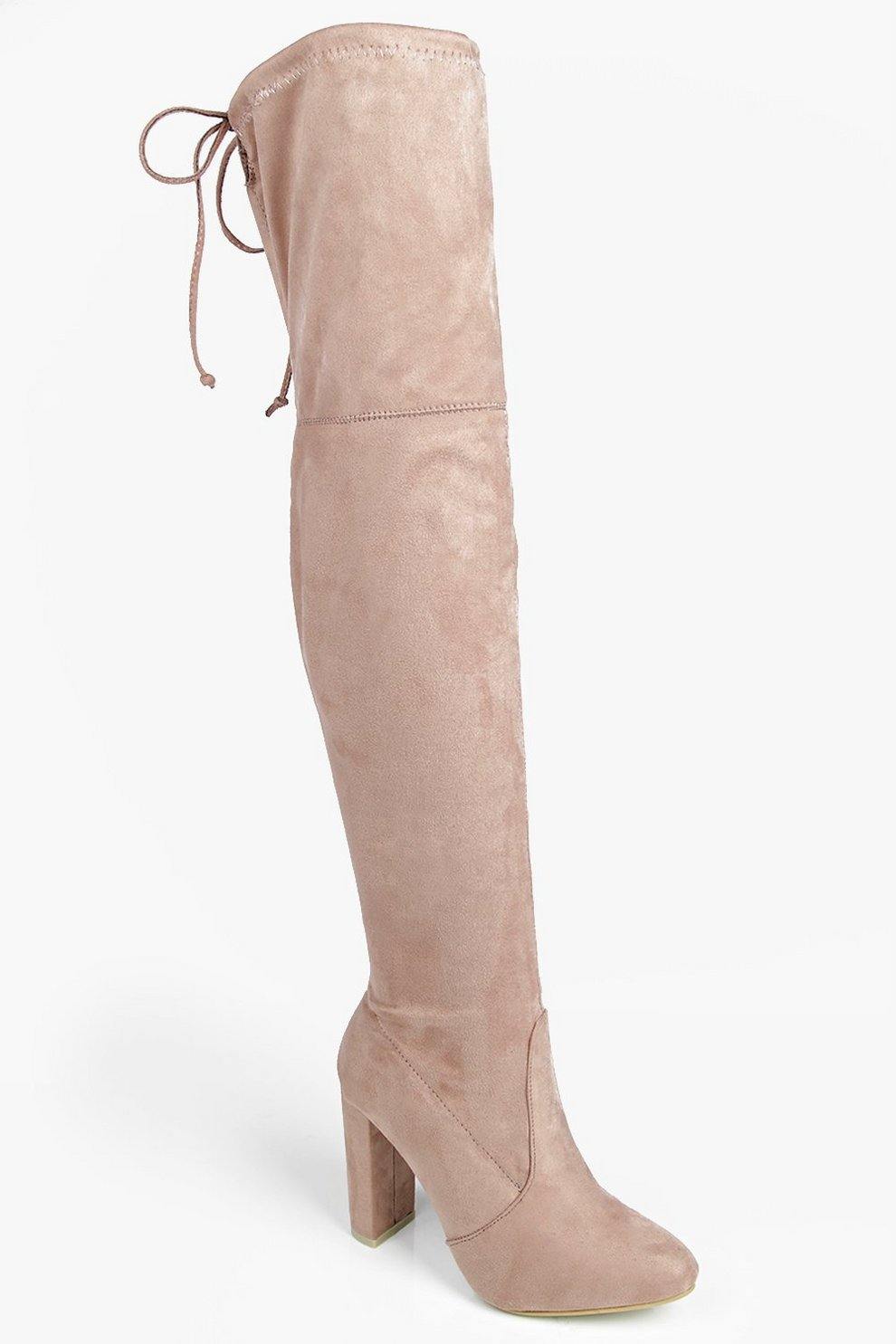 5a375ac8ac Block Heel Lace Up Back Thigh High Boots   Boohoo