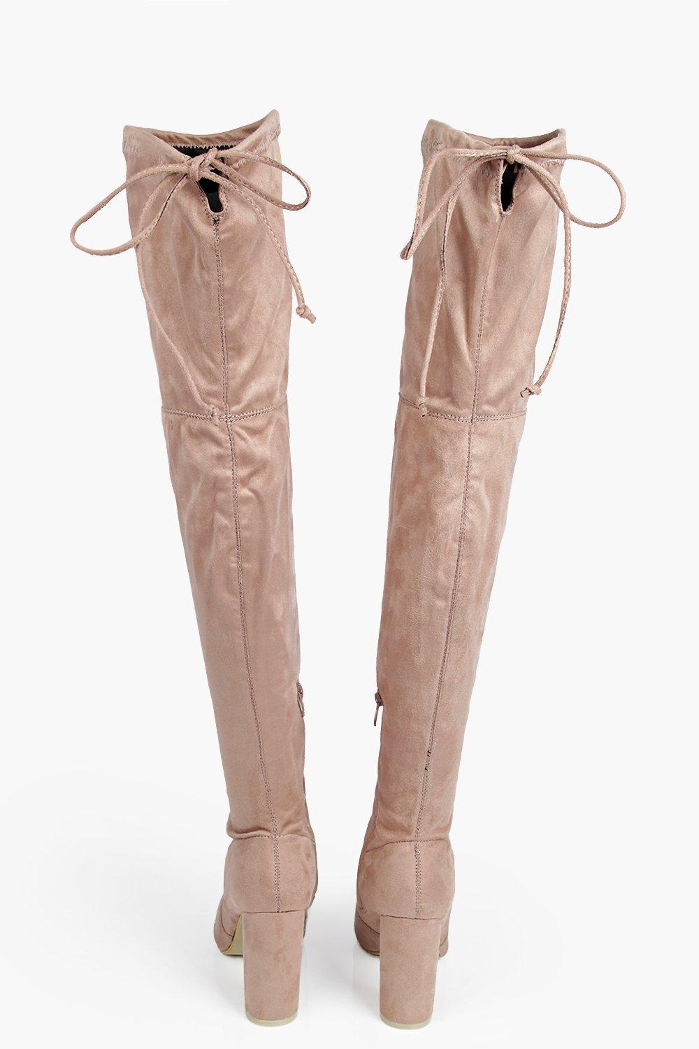 bd7b5cae2e15 Mia Block Heel Lace Up Back Over Knee Boot alternative image