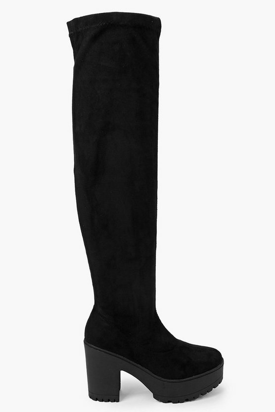 Cleated Block Heel Over The Knee Boots