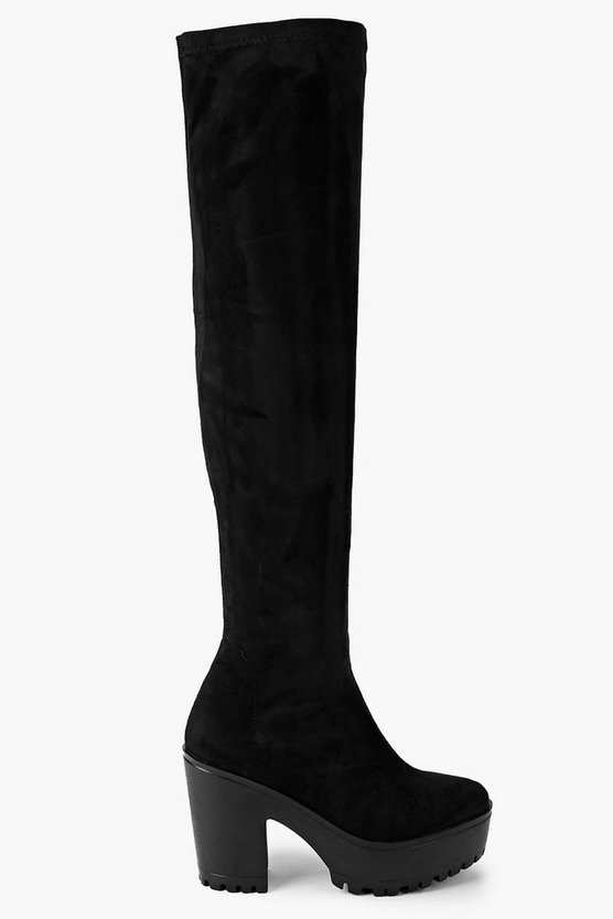 Over The Knee Block Heel Cleated Boots
