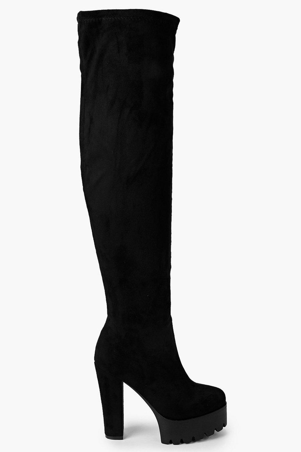 comprare on line 7eee2 2bb42 Scarpe con plateau e suola a carrarmato stivali alti alla coscia