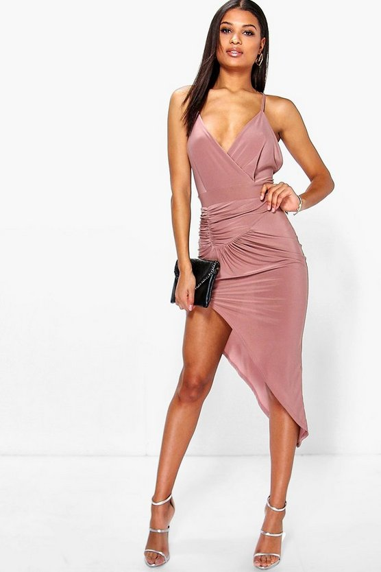 Jo Rouched Detail Asymmetric Slinky Bodycon Dress