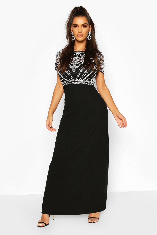 Vintage 1920s Dresses – Where to Buy Womens Boutique Sequin Embellished Maxi Bridesmaid Dress - Black - 12 $100.00 AT vintagedancer.com