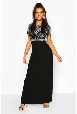 Boutique maxi abito con top impreziosito, Black