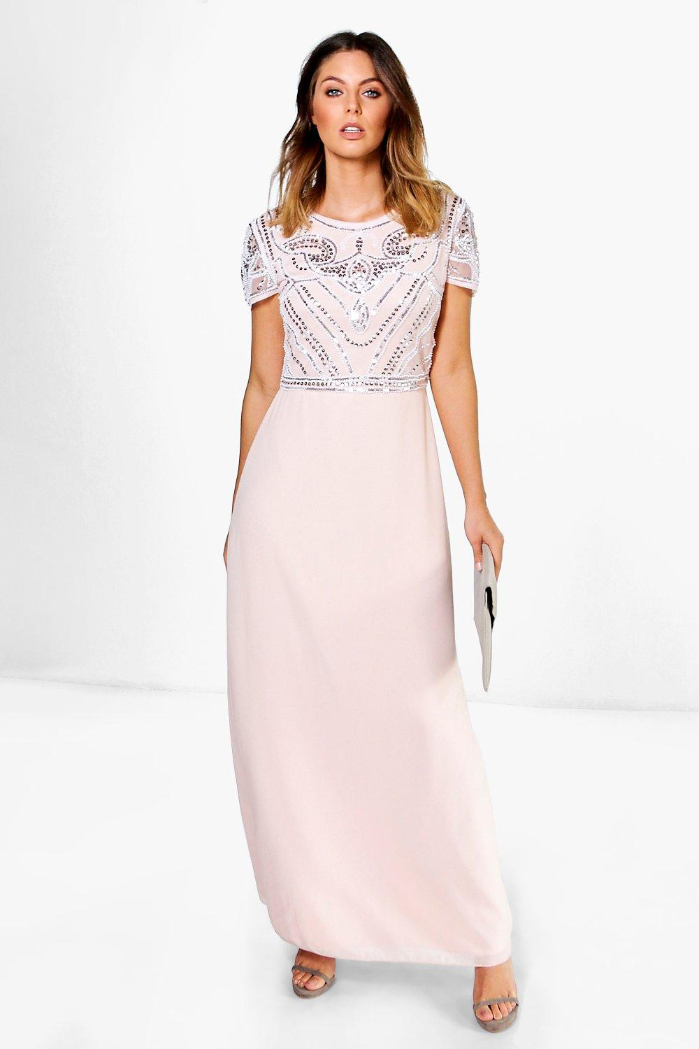 1930s Evening Dresses | Old Hollywood Silver Screen Dresses Womens Boutique Embellished Top Maxi Dress - pink - 14 $28.00 AT vintagedancer.com