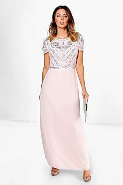 1900 Edwardian Dresses, Tea Party Dresses, White Lace Dresses Boutique Embellished Top Maxi Dress $80.00 AT vintagedancer.com